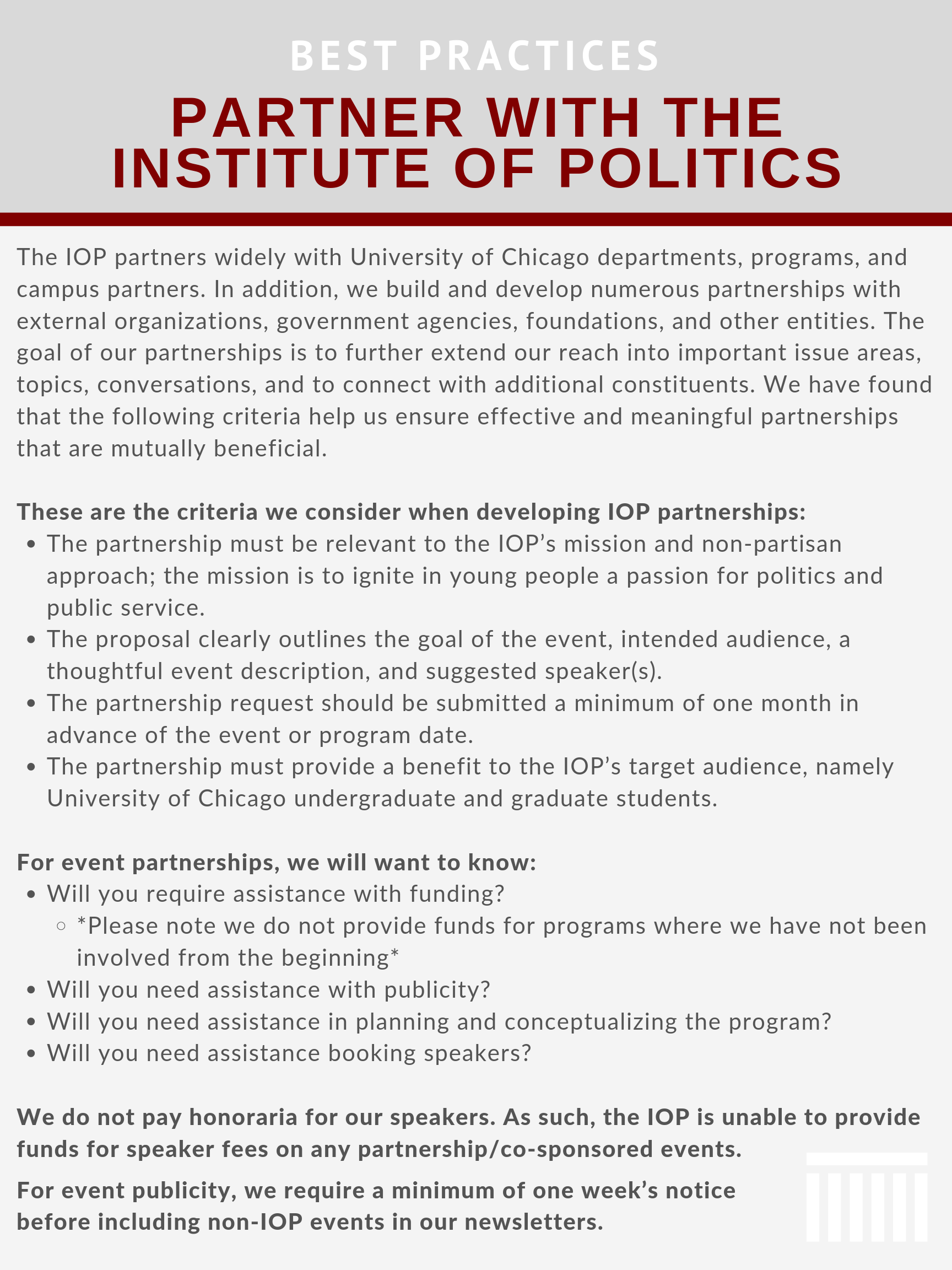 Partner with the IOP | Institute of Politics | The